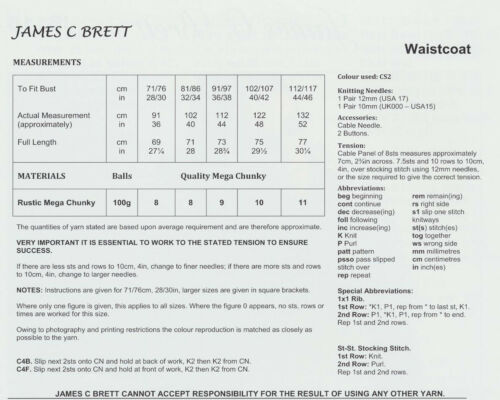 Mega Grueso Tejer patrón Mujer Gruesas Cable de punto chaleco James Brett JB118