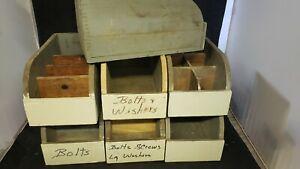 Vtg Antique Primitive Wood barn hardware parts Box Rustic ...