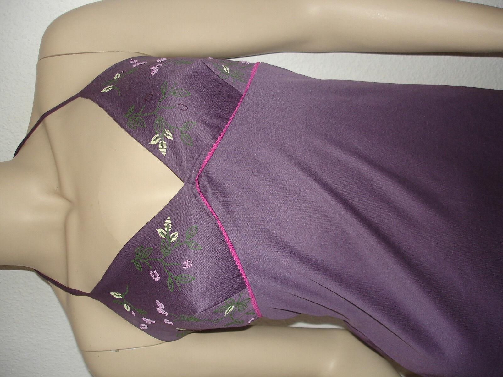 Original Kookai Kleid Neckholder Gr. 1 34 36 Lila Flieder Stickerei