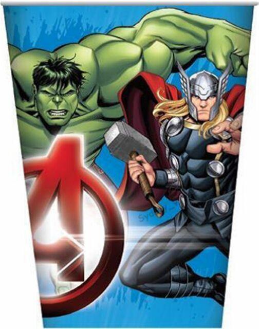 AVENGERS PAPER CUPS  BEVERAGE DRINK 266ml  BOYS BIRTHDAY PARTY SUPER HERO 8PK