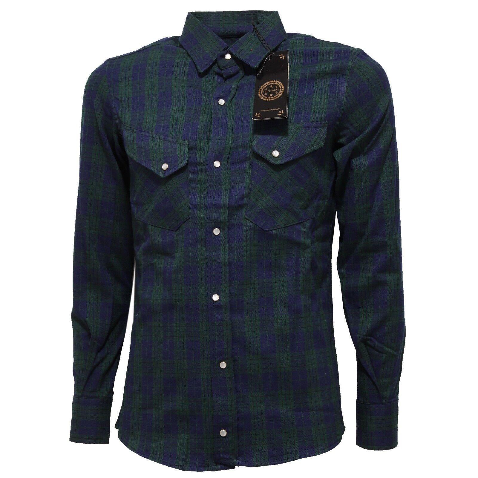 4927Q camicia uomo MINIMAL cotone verde blu shirt long sleeve men