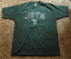 9f701c1b4 NEW YORK JETS RETRO GREEN T-SHIRT Mens Medium NFL Shirt Reebok NY ...