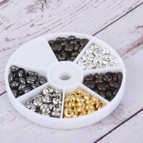 Iron Crimp Beads Covers 4mm 5mm Knot Covers Jewelry Charms 6 Colors//box 1 box
