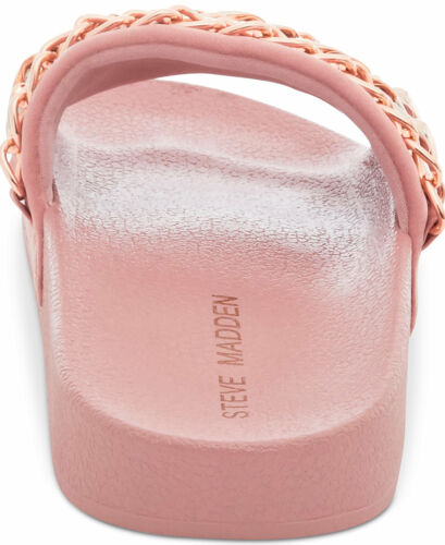 Steve Madden Chains Rose Gold Slides Sandals Women Blush Pink