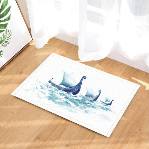Details about  /Viking/'s Ships Drakkars in Nordic Sea Bathroom Rug Non-Slip Floor Door Mat