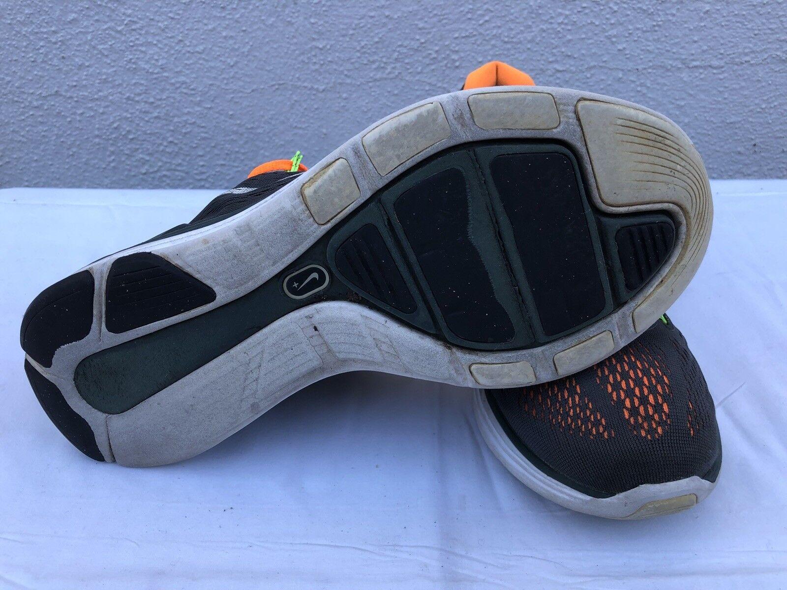 Euc nike lunarglide 9,5 + 5 mens größe 9,5 lunarglide laufschuhe gray orange 599160-010 ein af5a00