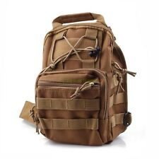 Tactical Molle Utility Hiking Travel Sport Shoulder Sling Chest Pouch Bag Tan