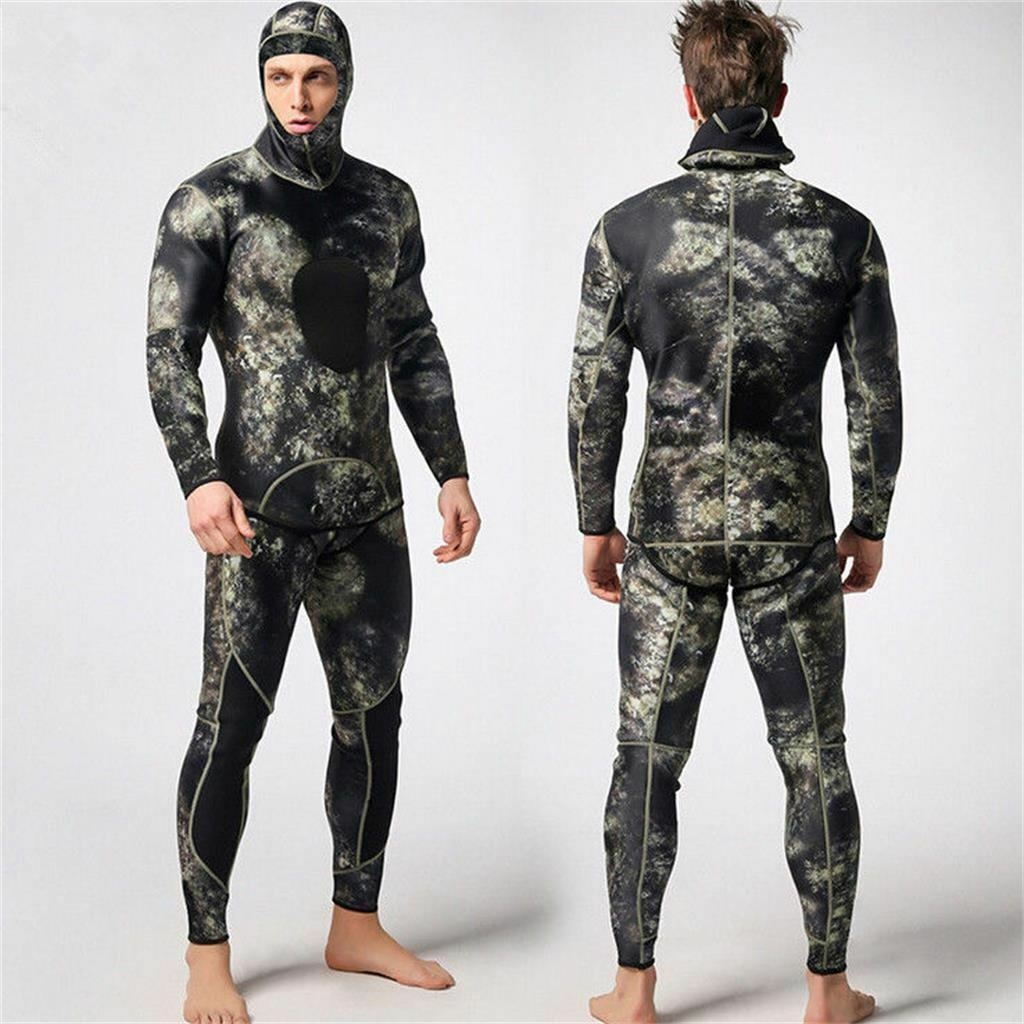 Men Camouflage Wetsuit Two-piece Scuba Diving Snorkel Suit Surf Swimwear XL