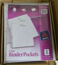 Avery Binder Pockets 3 Hole Punched 9 14 X 11 Clear 5pack Pack Of 12 New