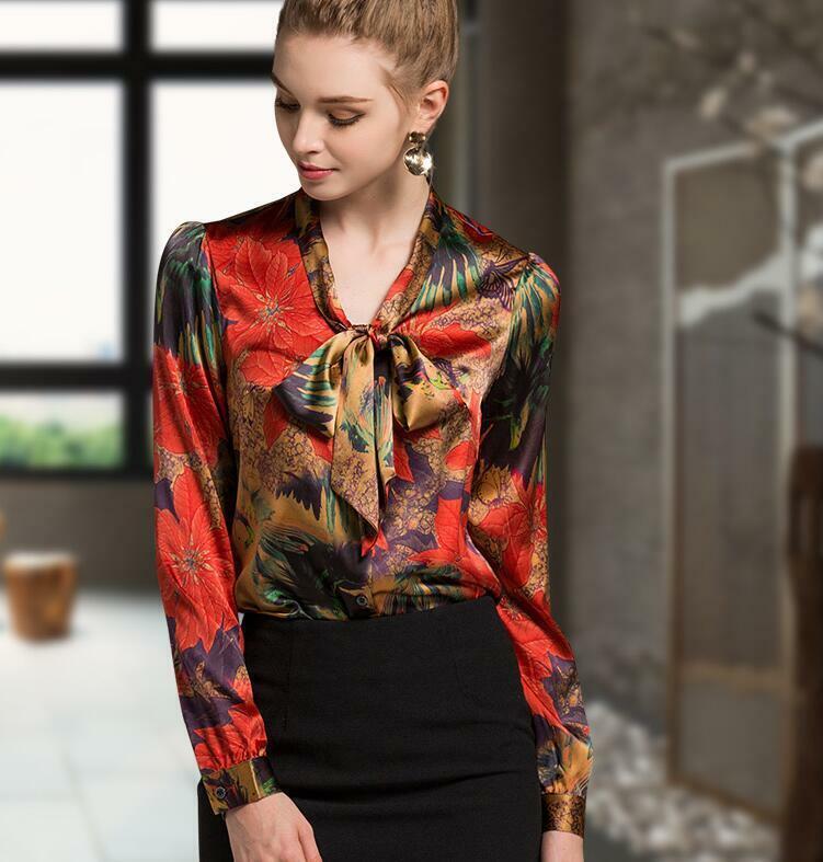 Woherren Silk Flower Print Long Sleeve Comfort Blouse Occident Tops Slim Shirt