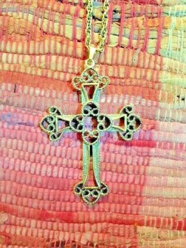 Sarah Coventry Cross Necklace/Pendant Antique Gold
