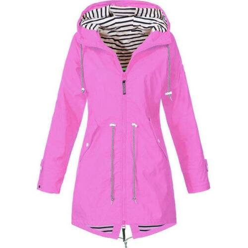 Women/'s Hooded Plain Raincoat Waterproof Windproof Coat Jacket Casual Outwear US