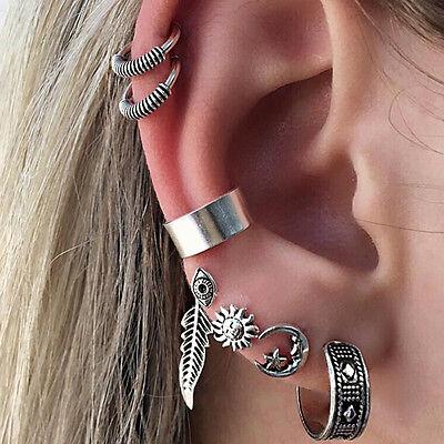 Boho Sun Feather Carved Retro Punk Cuff Ear Stud Huggie Cartilage Earrings Nimbl