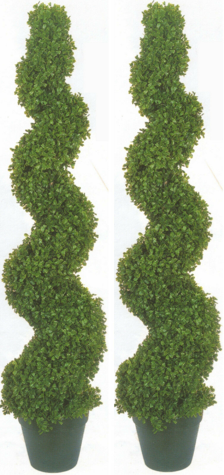 2 BOXWOOD SPIRAL TOPIARY ARTIFICIAL OUTDOOR UV TREE 4' 2  POOL 5 PATIO PORCH 50