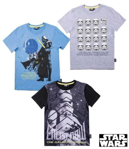 Neuf Garçons Star Wars T Shirt à Manches Courtes Bleu Gris Noir Âge 5 6 7 8 9 10 11 12