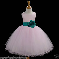 NEW PINK PAGEANT FLOWER GIRL DRESS TULLE WEDDING BRIDESMAID 12-18M 2 4 6 8 10 12