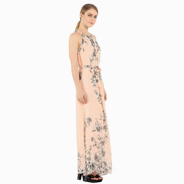 a3c2ba7e8c408 Ladies Sleeveless Chiffon Long Maxi Dress Dressy/Casual Loose Pink/Gray  Floral