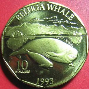 1993-MARSHALL-ISLANDS-10-034-BELUGA-WHALE-034-SHIP-PACIFIC-WHALES-DOLPHINS-BRASS-34mm