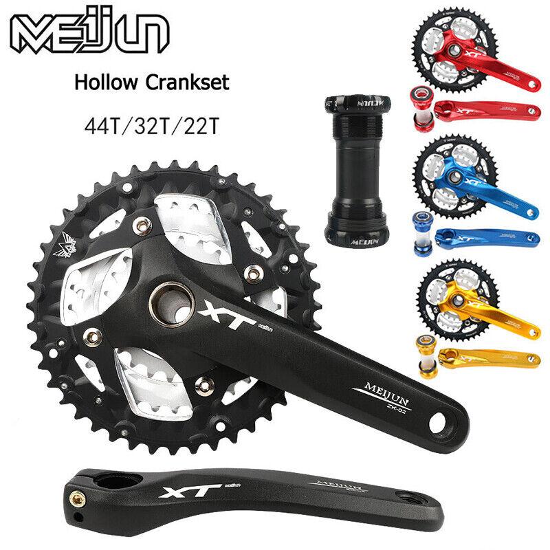 MEIJUN 9 27 Speed MTB Bike  Crankset 22 32 44T 104BCD Chainring Crank BB Set  hot sale online