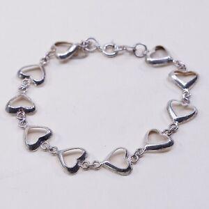 7-Vintage-Sterling-Silver-Handmade-Bracelet-925-Heart-Link-chain