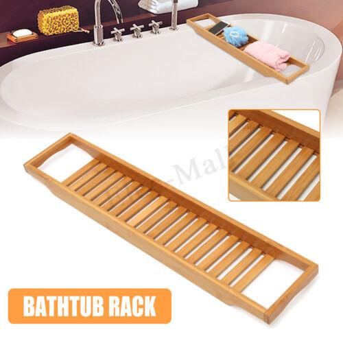 Bamboo Bathtub Rack Caddy Bath Tub Bridge Tidy Tray Shower Shelf Basket Holder