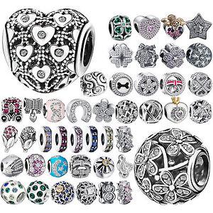 CZ-925-Charms-Silver-Bead-Cubic-Zircon-Women-039-s-Jewelry-For-Sterling-DIY-Bracelet