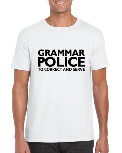 GRAMMAR POLICE T-Shirt Drôle Blague Cadeau Bureau Travail Fantaisie Cadeau T Shirt