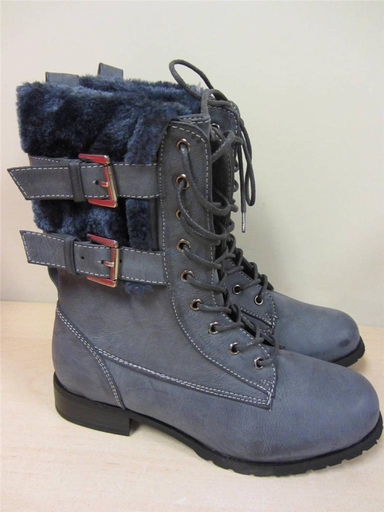 Women's Rasolli Fur Cuff Combat Boots GRAY GREY sz 5.5 NEW 5 1/2