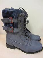 Women's Rasolli Fur Cuff Combat Boots Gray Grey Sz 5.5 5 1/2