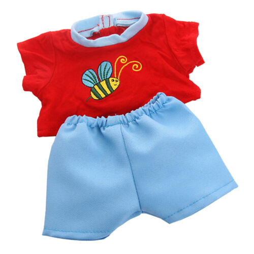 Adorable Doll Bee Pattern Printed Top and Blue Pants Suit for 18inch Dolls