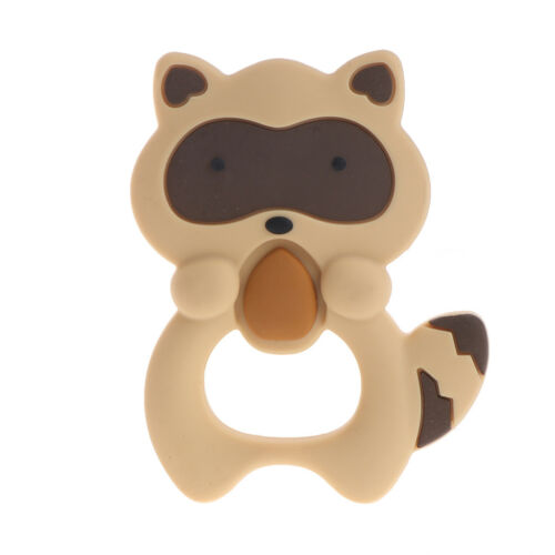 Silicone Raccoon Teether squirrel Teething Pendant Necklace BPA Baby Chew Toy