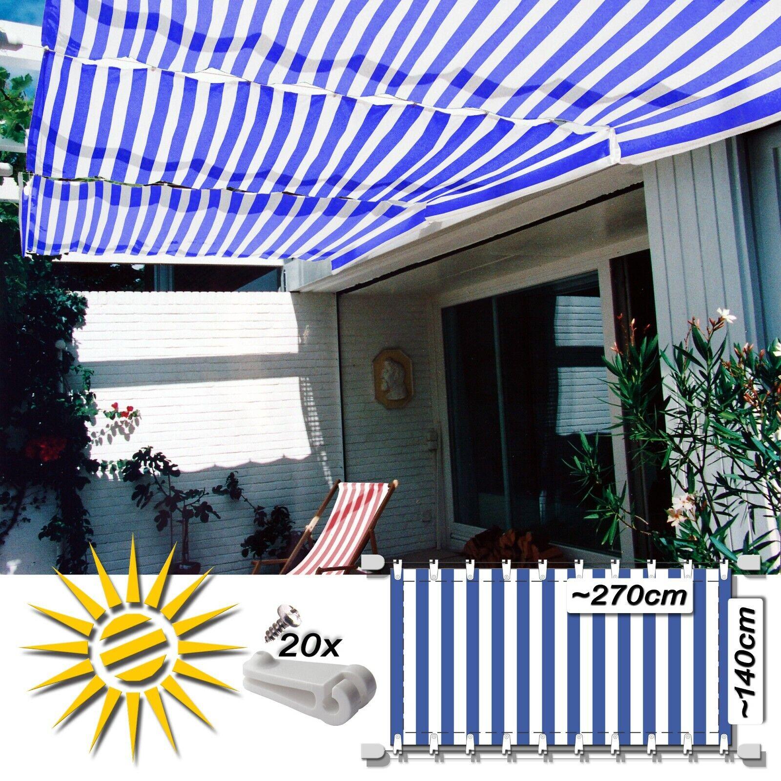 Corda serraggio Tenda Blu Bianco circa 270x140 cm Pergola set completo con 20 ganci di Scorrimento