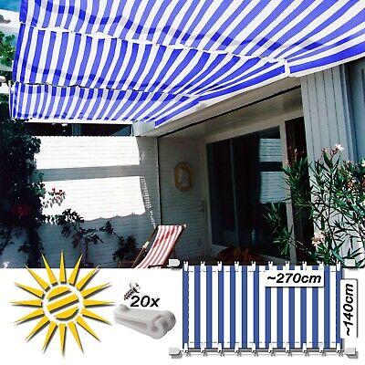 Original Seilspannmarkise Blau Weiss Ca. 270x140 Cm Pergola Komplett Set Mit 20 Laufhaken