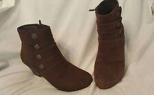 Dansko womens shoes Sz 38 Baker brown suede bootie  ankle boots zipper mid heel