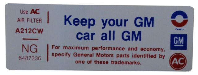 """1972 Oldsmobile """"Keep Your GM Car All GM"""" Air Cleaner Decal 4 BBL"""