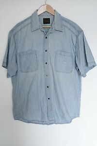 Wrangler vintage mens denim shirt blue snap buttons sz xl for Mens shirts with snaps instead of buttons