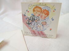 Vintage Unused Hot'N'Tots Pop up Card Congratulation Lovely Bride Charming Groom