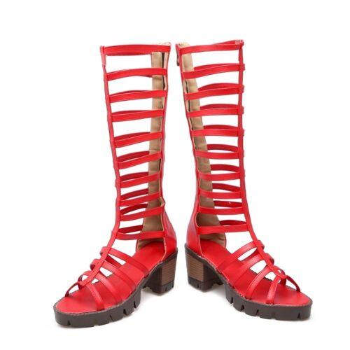 Strappy Gladiator pour Femme Sandales Plateforme Med Block Talons Bottes Hautes Chaussures