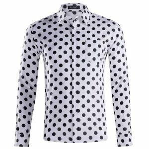 Men-039-s-Long-Sleeve-Shirts-Polka-Dot-Shirt-Casual-Formal-Regular-Shirt-Top-XS-XXL