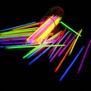 100x 8 glow sticks bracelets necklaces party favors neon color 100 connectors