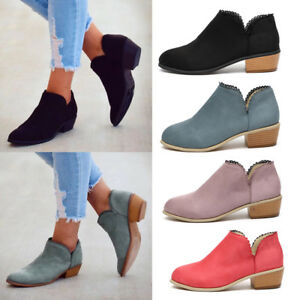 Women-039-s-Ankle-Boots-Split-Round-Toes-Chunky-Block-Low-Heels-Casual-Shoes-Sizes