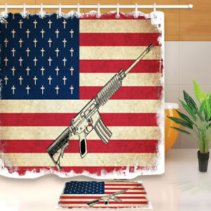 Image Is Loading Death Flag Of USA With Guns Shower Curtain