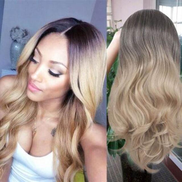 Women Ladies Blonde Ombre Hair Full Wig Cosplay Black Root Long