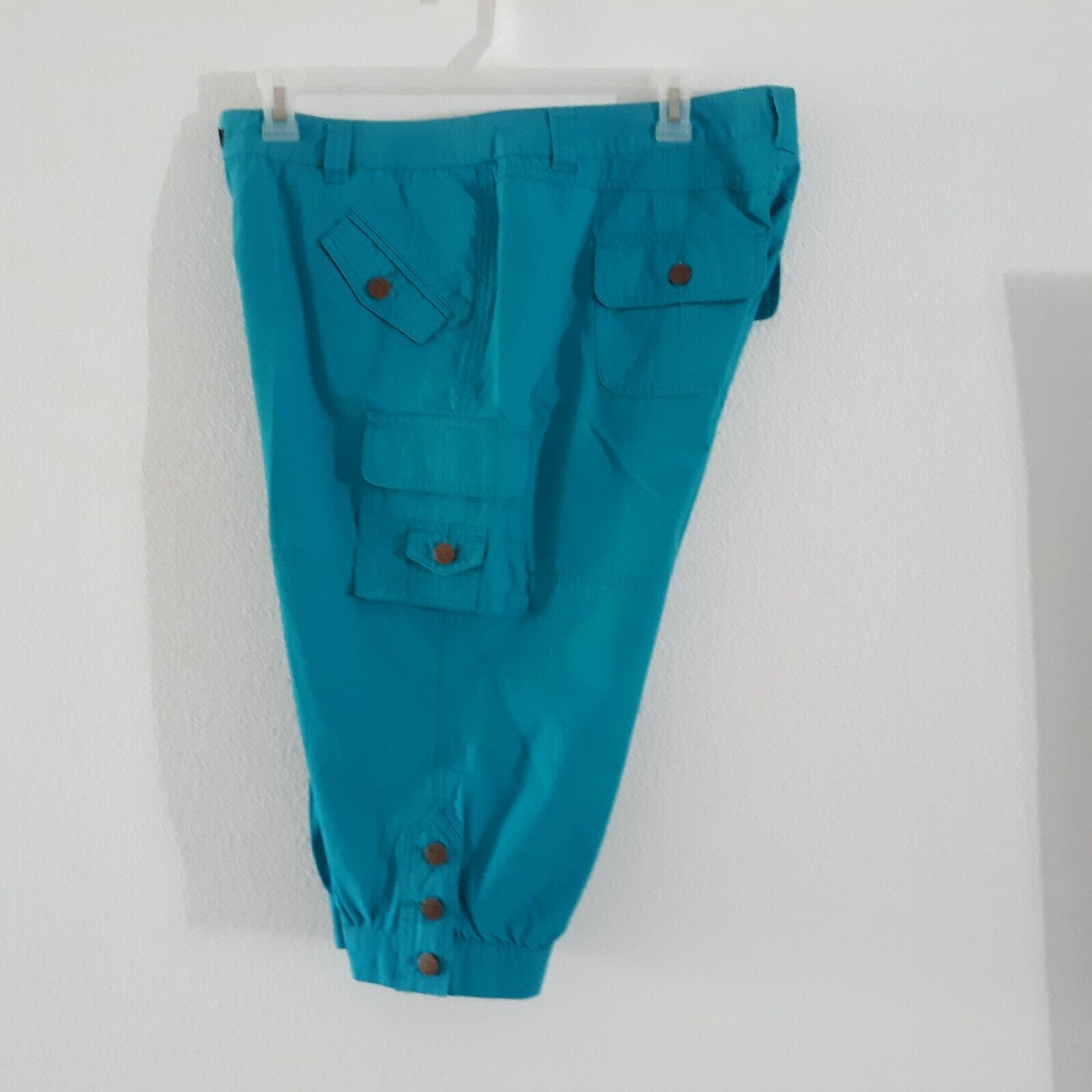 Venezia Turquoise Blue Cargo Capri Pants Women's … - image 6