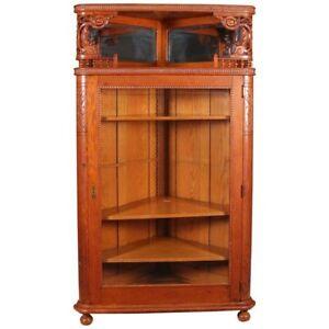 Antique-R-J-Horner-School-Deeply-Carved-Stick-amp-Ball-Oak-Corner-China-Cabinet