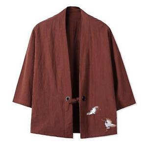 Les-hommes-japonais-kimono-style-grues-broderie-Veste-Retro-Ample-Manteau-Oversize-Top