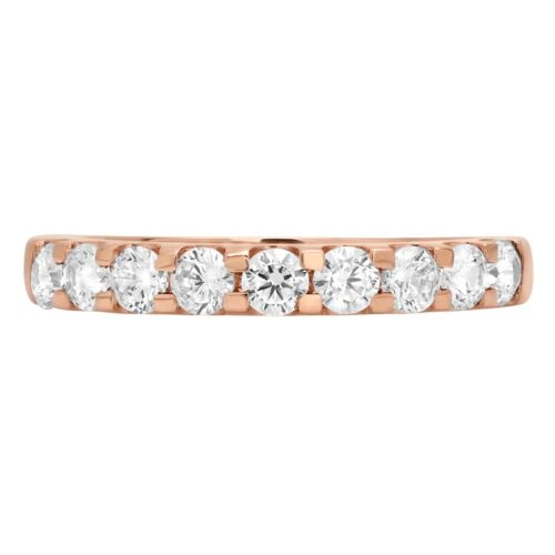 0.9 CT Round Cut Solitaire Pave Promesse Fiançailles Mariage Band 14K or rose
