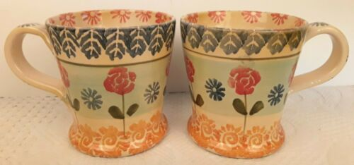 2 Hand Painted Mugs Made in Italy Hand Stamped Flower Design Fluted Shaped EUC