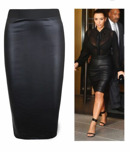Womens Ladies Plus Size Wet Look Faux Leather Pencil Stretch Midi Skirt 8 to 26