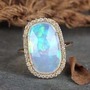 Genuine-3-19-Ct-Opal-Gemstone-Cocktail-Ring-Diamond-Pave-Solid-14k-Yellow-Gold